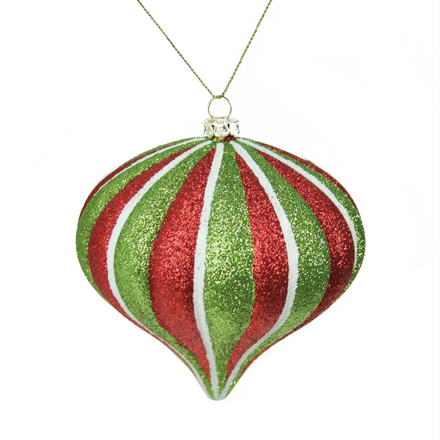 35 Merry & Bright Red White And Green Glitter Stripe