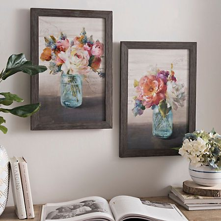 French cottage bouquet framed art prints set of 2
