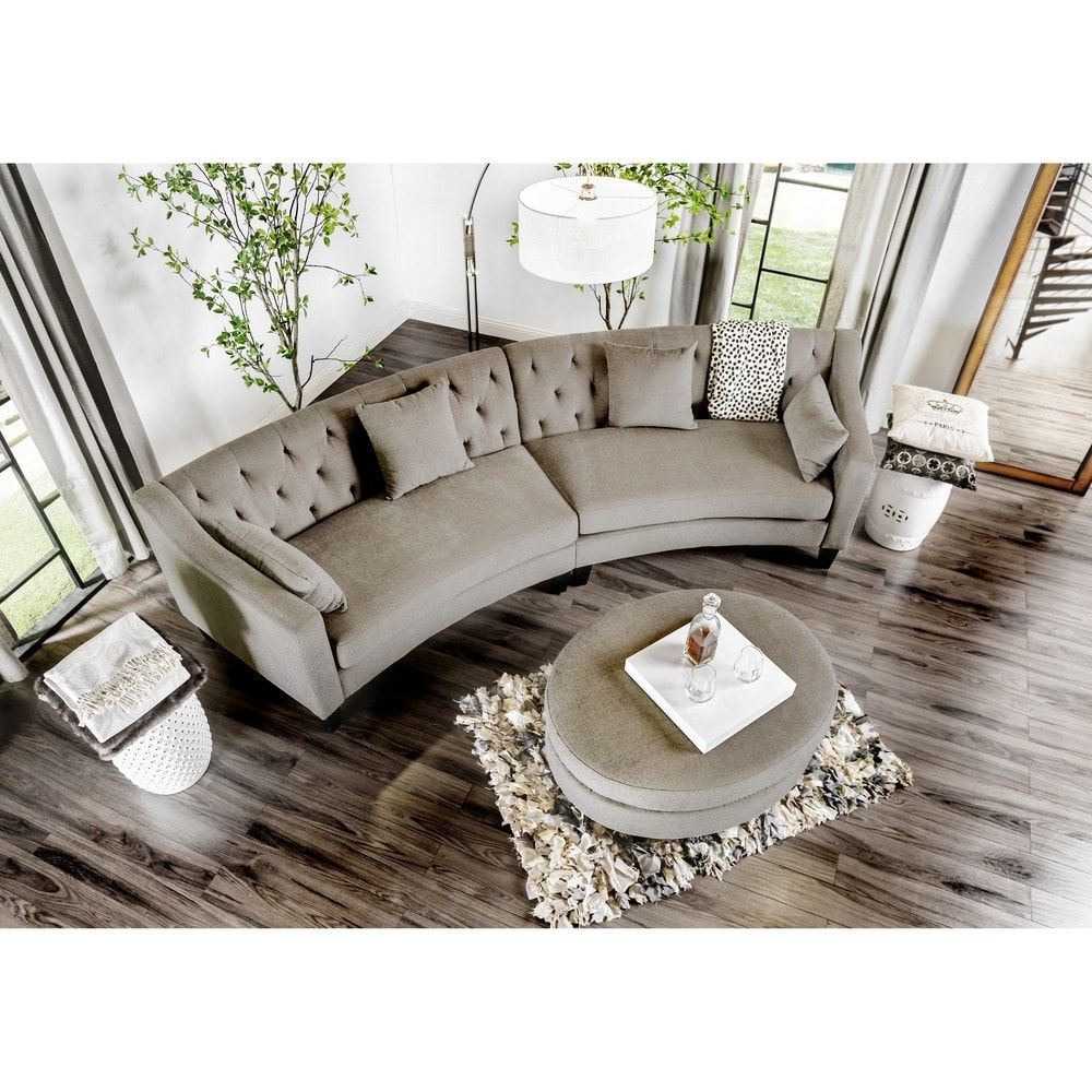 Aretha Contemporary Grey Tufted Rounded Sectional Sofa By Furniture Of  America | Overstock.com Shopping