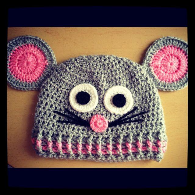 Crochet mouse hat - Gorro de ratón Angelas Crafts | Animales
