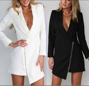 zipper Irregular fashion sexy long-sleeved jacket   MN1031BI