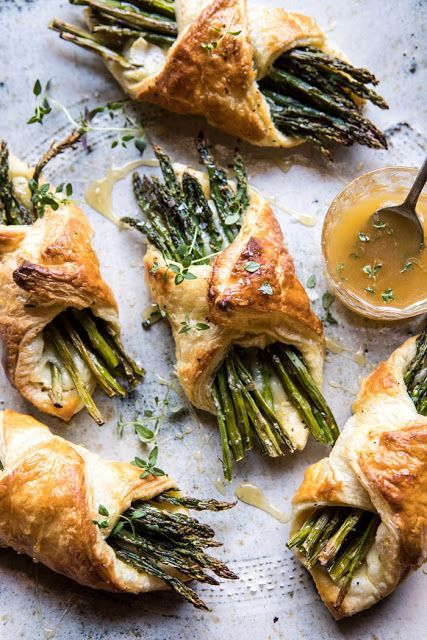 Asparagus and Brie Puff Pastry with Thyme Honey #frozenpuffpastry