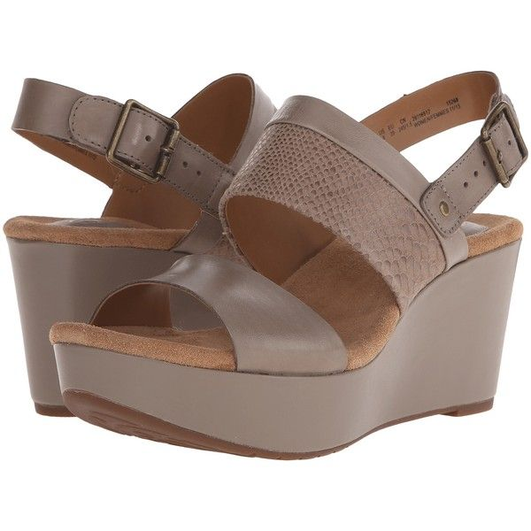 Clarks Caslynn Kat (Sage Combi) Women's Wedge Shoes ($73) ❤ liked on