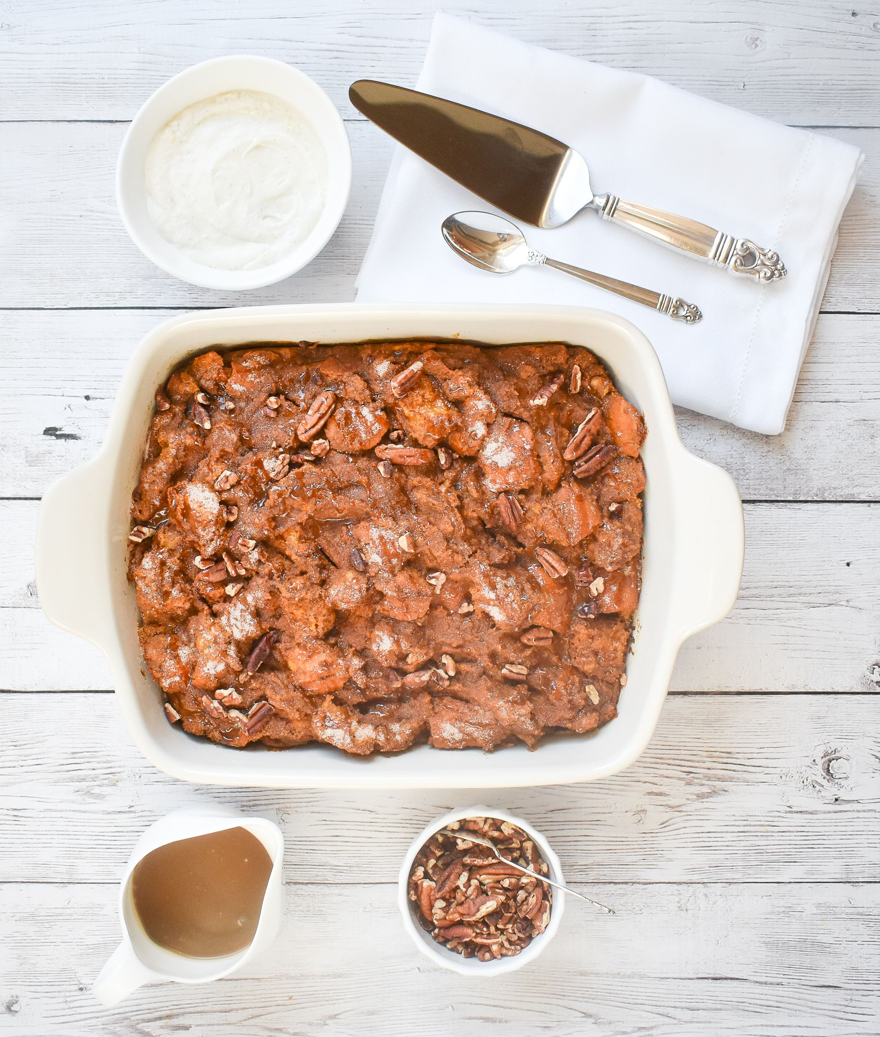 Lowfodmap pumpkin bread pudding with lowfodmap caramel