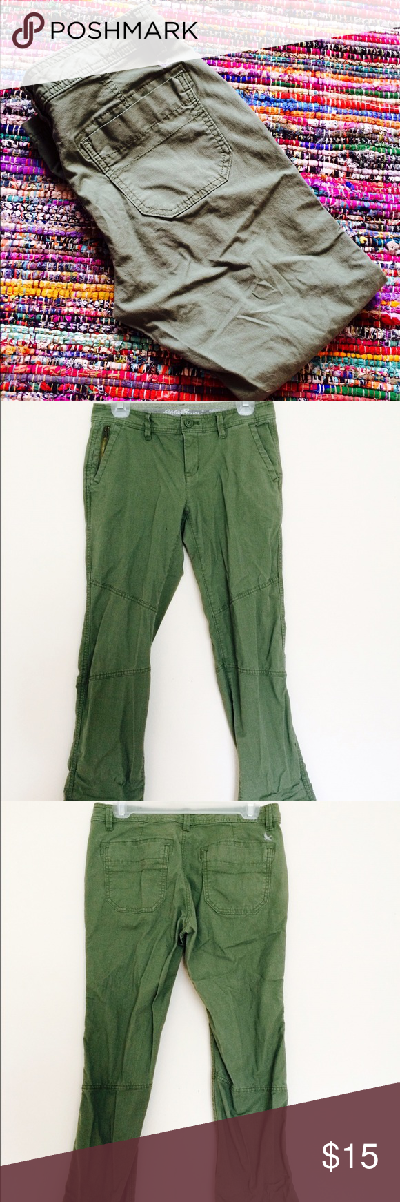 Army Green Pants Army green Eddie Bauer pants. Super great pair of pants but a little to big on me . Worn once otherwise in fabulous condition.                  PLEASE CHECKOUT MY $10 SALE!!! (There are some excluded items such as these but if you bundle or offer I would be happy to obligate. Just no extremely low offers❗️) Eddie Bauer Pants Straight Leg