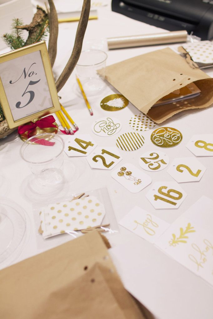 Gold Foil numbers cut with the Silhouette for an Advent calendar | Amy Robison Design