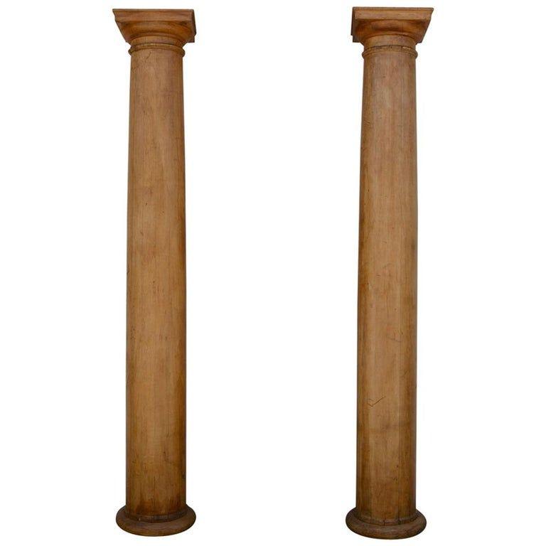 Pair of elegant 10 feet tall fluted decorative pine columns. Stunning.