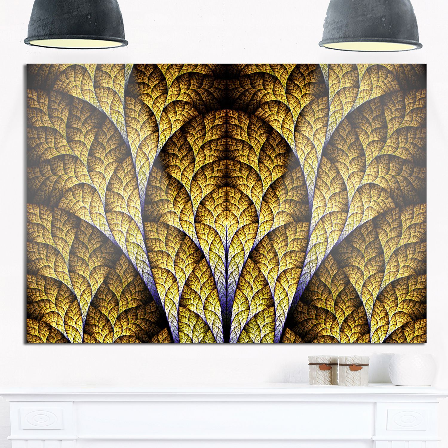Unique Orange Fractal Design Pattern - Oversized Abstract Glossy ...
