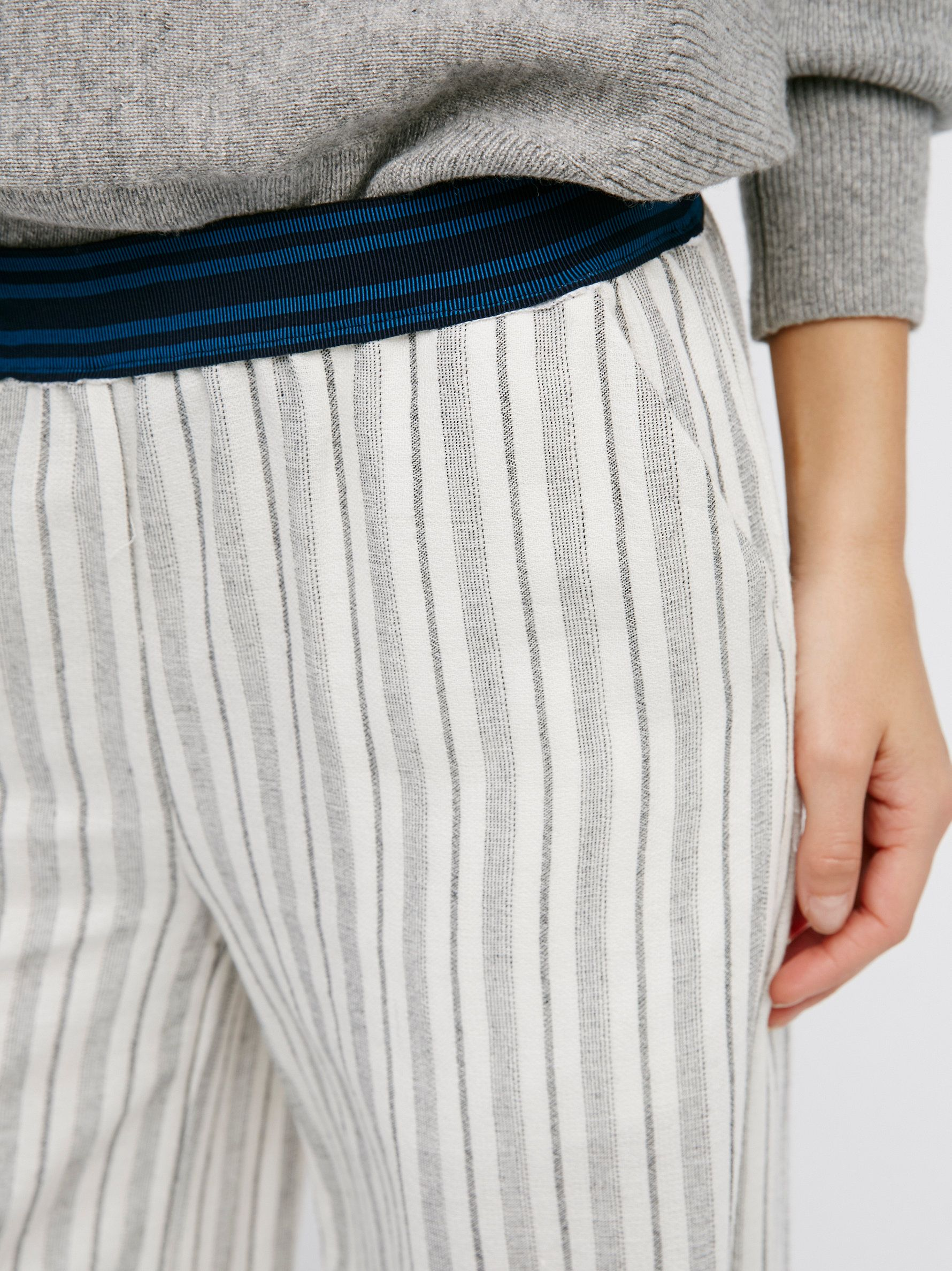 Wide Leg Pull On | In a cotton-blend these lightweight and comfy striped pants are in a wide leg silhouette with hip pockets. Contrast striped elastic waistband for an easy fit.
