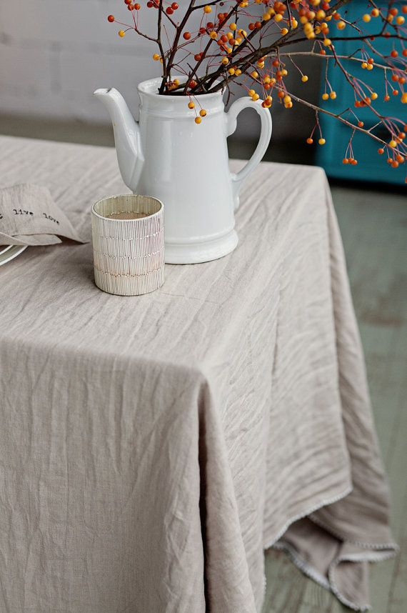 Superbe This French Style Pure Linen Tablecloth With White Pom Pom Edge Can Be Used  From Casual Dinner Or Rustic Picnic To Elegant Party Oru2026 | Pinteresu2026