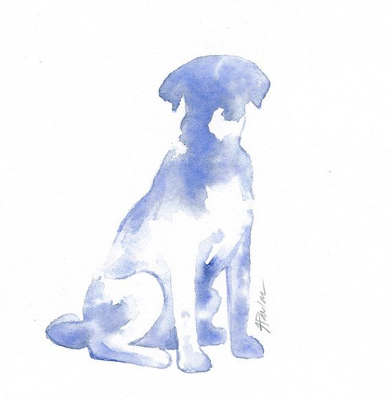 Sitting Dog Silhouette Custom 8x10 By Whiskeredpaintings On Etsy