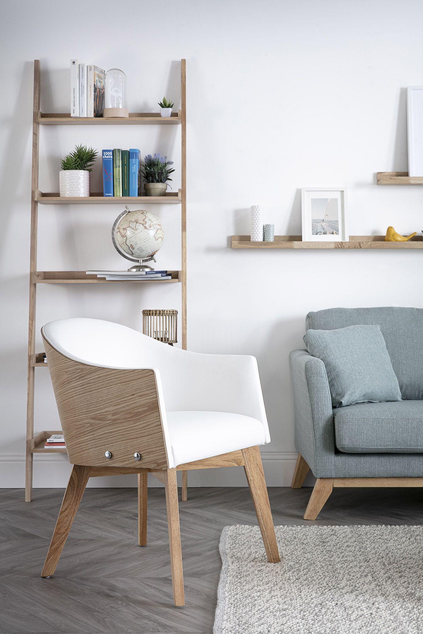 Fauteuil Design Bois Clair Et Pu Blanc Nordeco Miliboo Fauteuil Design Chaise Style Scandinave Inspiration Deco