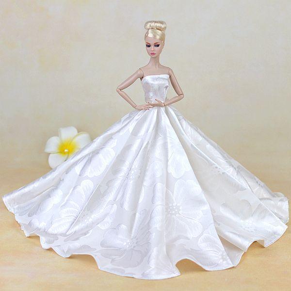 3e9fc7e1af Superior! muñeca hechos a mano vestido de noche blanco puramente Manual  vestido de traje de boda para muñecas Barbie Noble traje