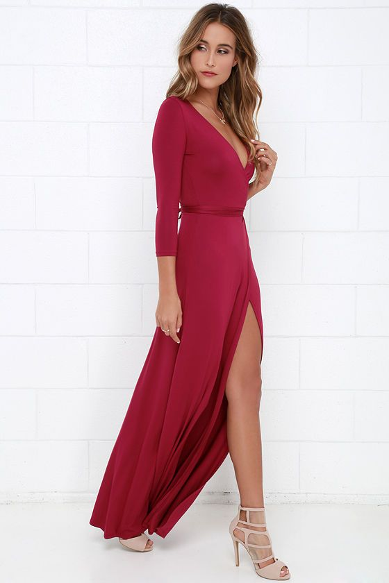 6b50834f Garden District Berry Red Wrap Maxi Dress | My Style | Dresses, Maxi ...