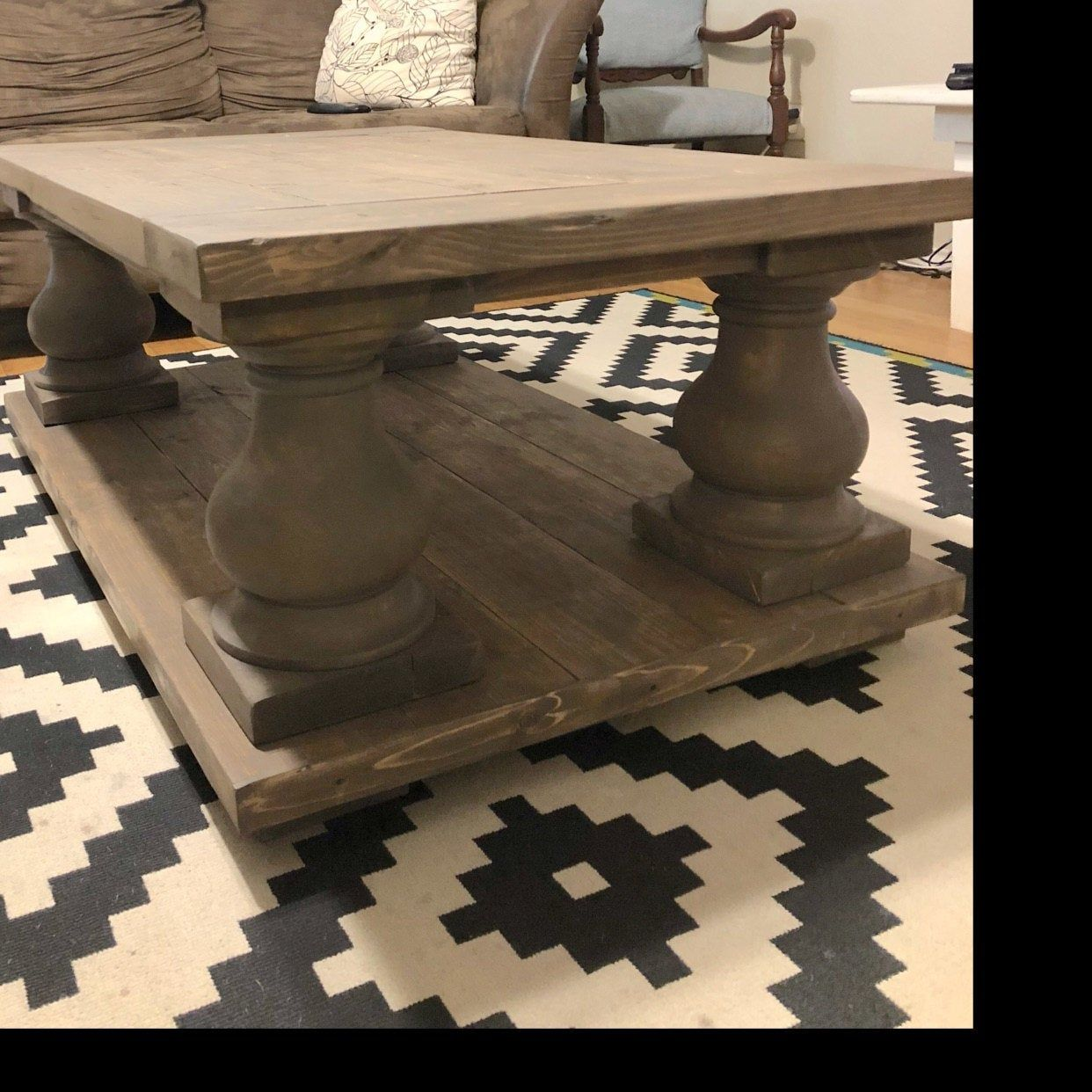 Chunky balustrade coffee table legs unfinished wood