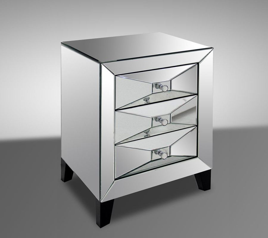 Charmant Graceful Mirrored Nightstand Contemporary Designs