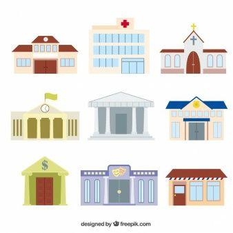 Variedad de edificios de dibujos animados  Things for Cityscapes