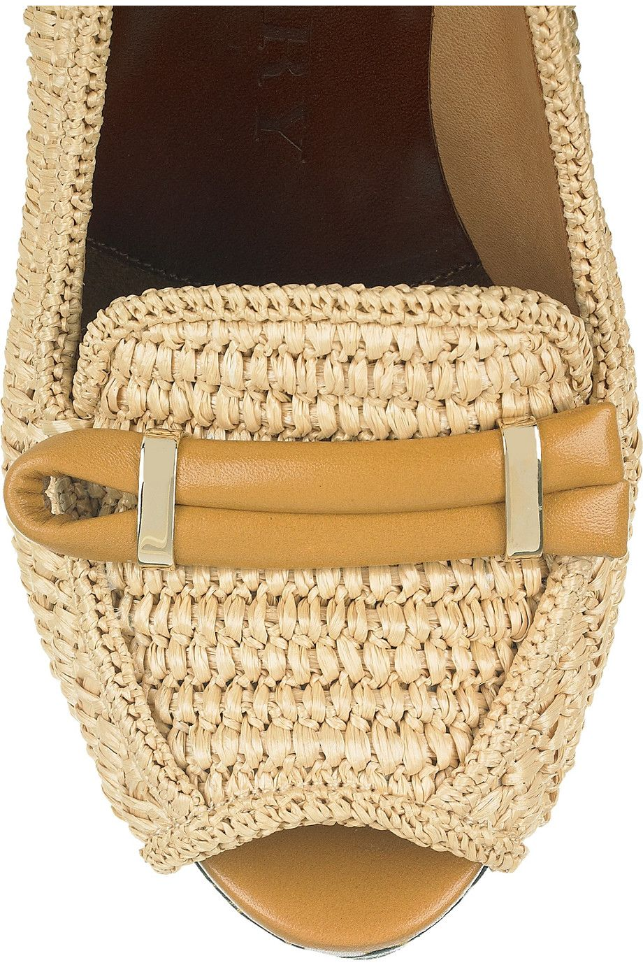 Burberry Prorsum|Woven raffia and printed wedge pumps