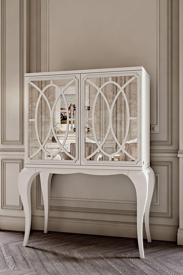 italian white furniture. Luxury Italian White Fretwork Mirrored Cocktail Cabinet | Juliettes Interiors Furniture