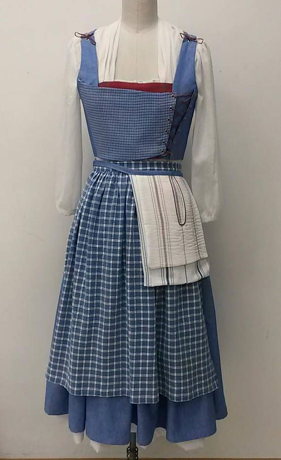 Handmade 7 pc Belle Blue Village Dress 2017 movie Emma Watson Belle ...