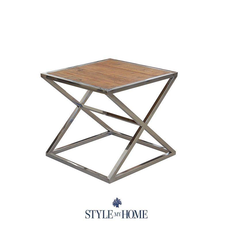 U0027ALYSSANDRAu0027 Recycled Wood U0026 Chrome Side Table By Style My Home Australia