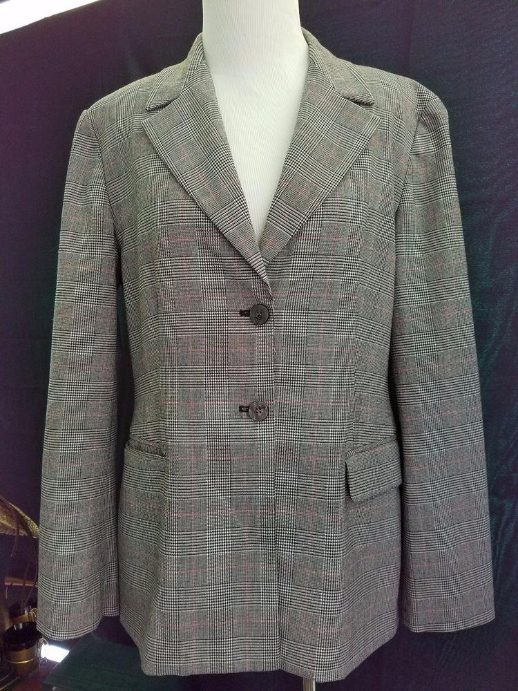 320ffd572fb4 MICHAEL KORS Tartan Plaid Black Two Button Blazer Jacket Womens Size 14  Large #MichaelKors #Blazer