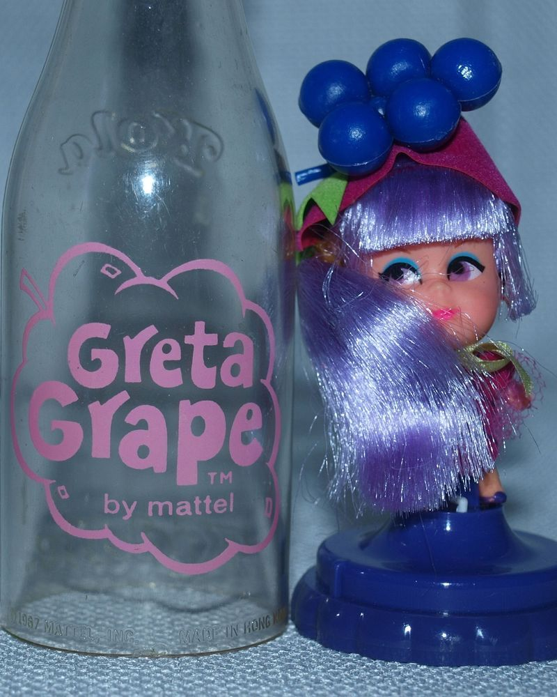 Vintage Mattel Little Kiddle Greta Grape Kola Cola Soda Pop Bottle Little Doll