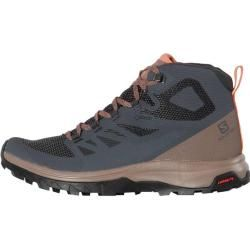 Photo of Salomon women's lightweight hiking shoes Outline Mid Gtx W, size 40? in Ebony / Deep Taupe / Tawny Orange, size