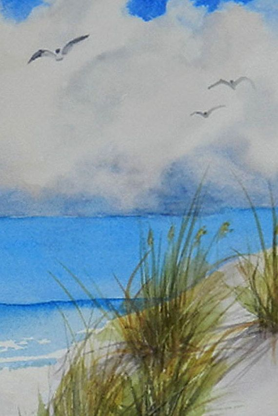 Beach Seascape With Florida White Sand And Sea Oats Original Watercolor Painting 11 X 11 Inches Beach Wall Art Usa Artist Painting Beach Wall Art Art