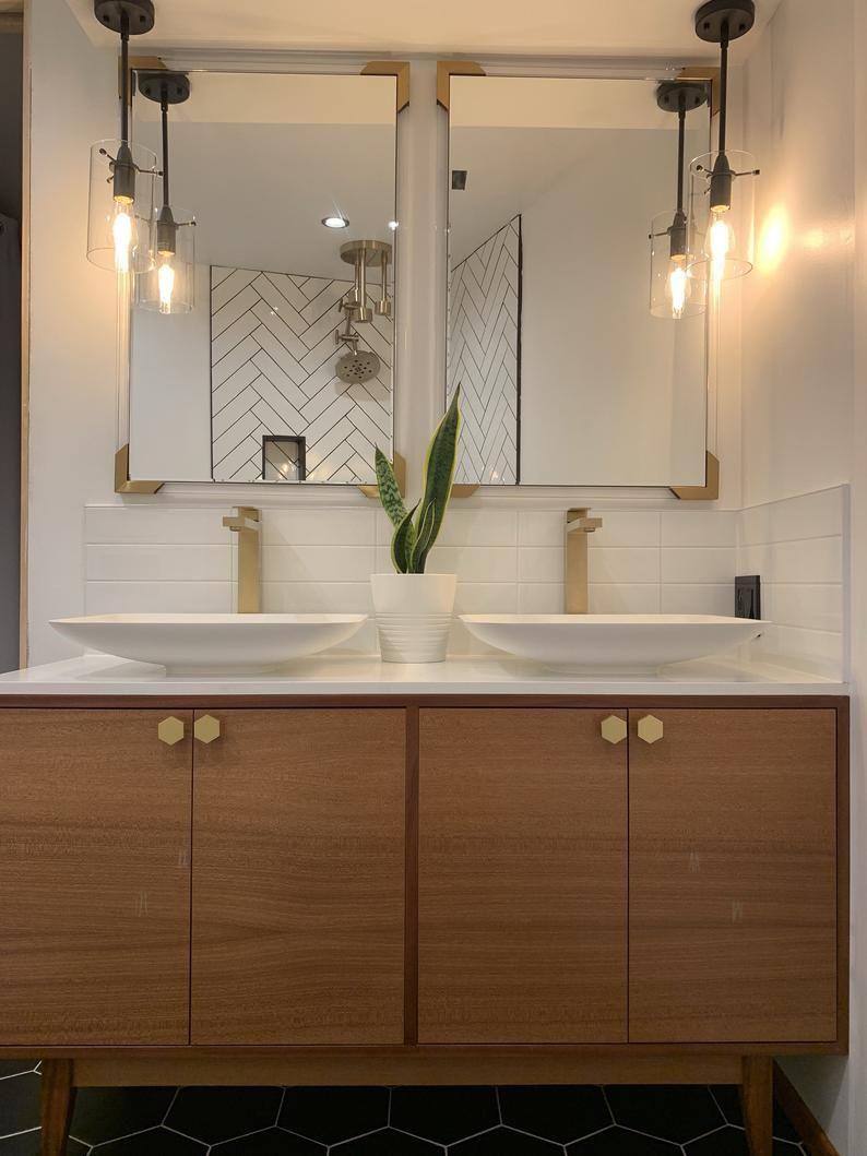 Free Shipping New Hand Built Mid Century Inspired Mahogany Vanity Cabinet In 2021 Mid Century Modern Kitchen Mid Century Modern Bathroom Modern Kitchen [ 1059 x 794 Pixel ]
