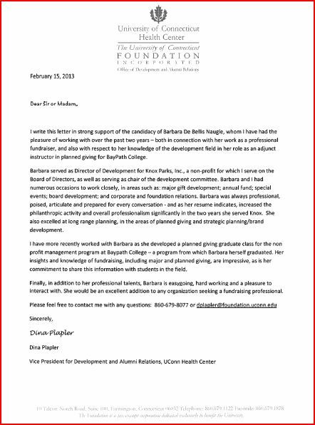 Letter of Reference from Dina Plapler, VP Development  Alumni