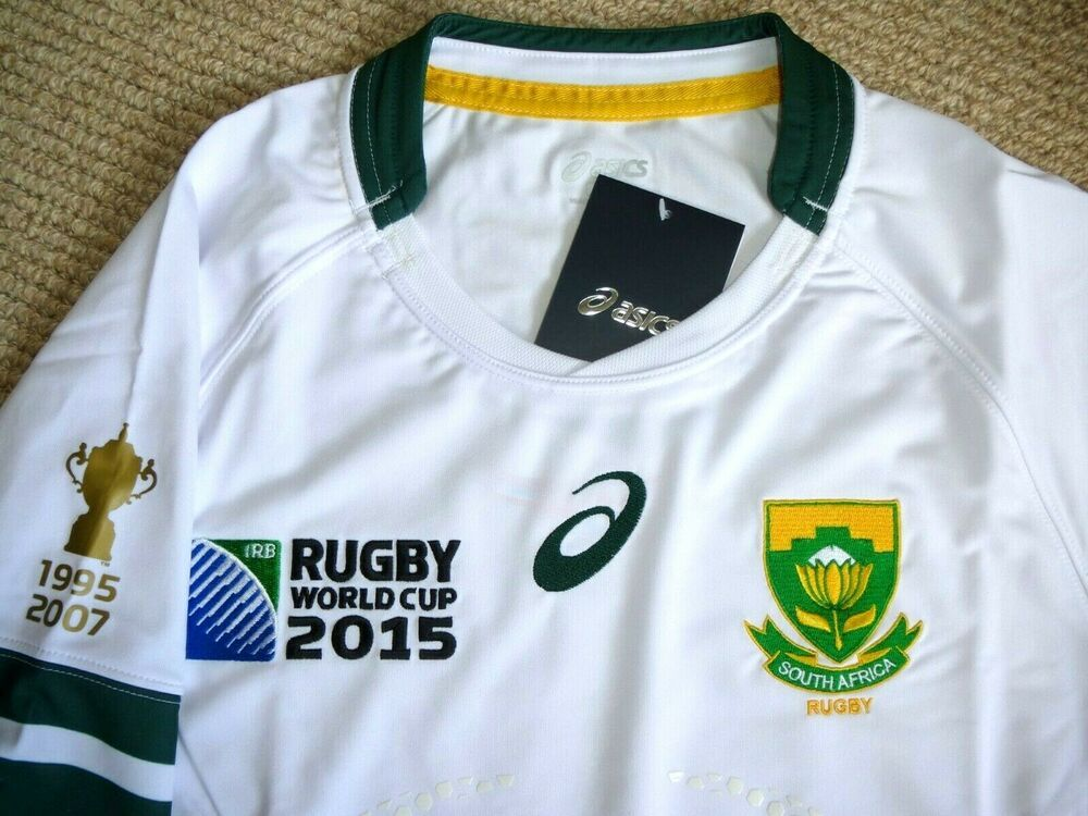 M Asics Springboks Rwc 2015 Test Match Bodyfit Rugby Jersey South Africa Shirt Fashion Sporting Goods Rugbyleague Shirts Ebay L Rugby Jersey Rugby Shirts