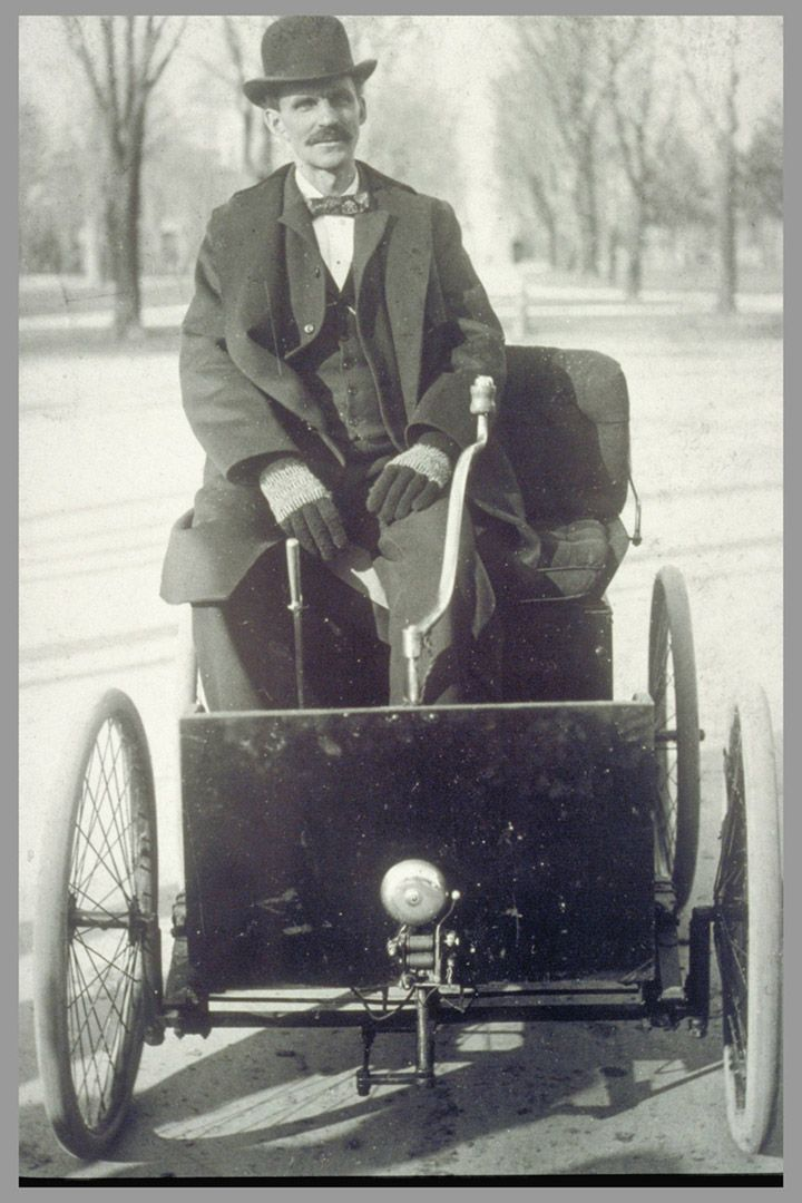 Henry Ford with his first car in 1896. Start small and carry on ...