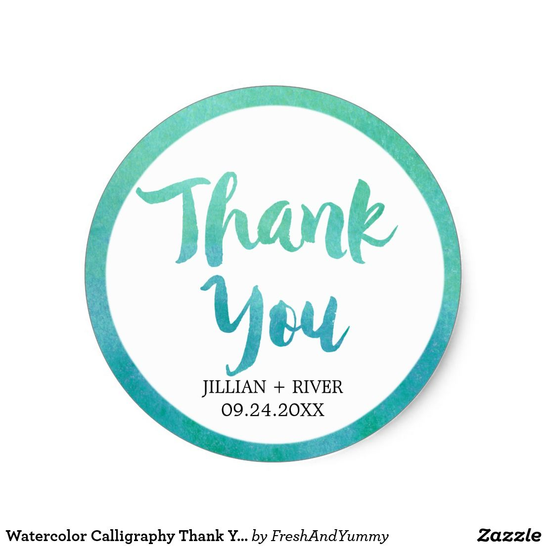 Watercolor Calligraphy Thank You Wedding Favor Classic Round Sticker ...
