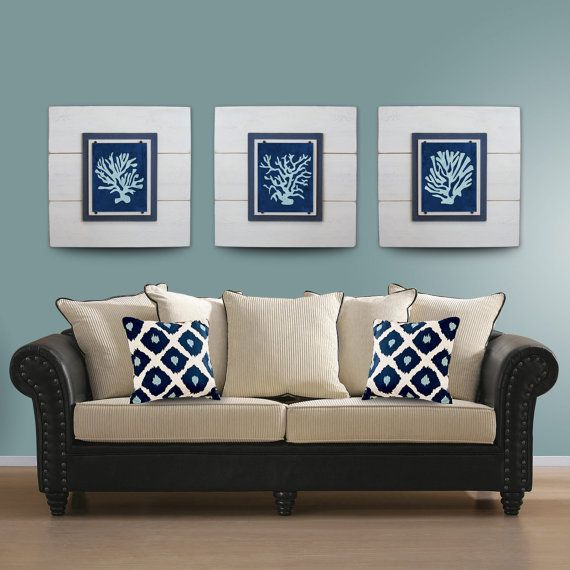 Coral Wall Art Set of 3 White Framed 8x10 xtra large 21X21 | Our ...