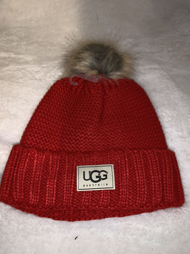 UGG Christmas Red Womens Solid Ribbed Fleece Lined Winter Pom Pom Beanie Hat   fashion  clothing  shoes  accessories  womensaccessories  hats (ebay link) e97fdd17af3d