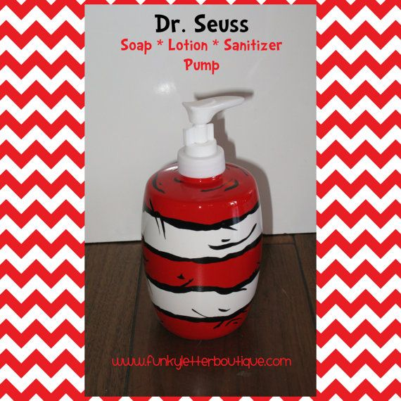 Dr Seuss Cat In The Hat Striped Bathroom Soap Pump Teacher