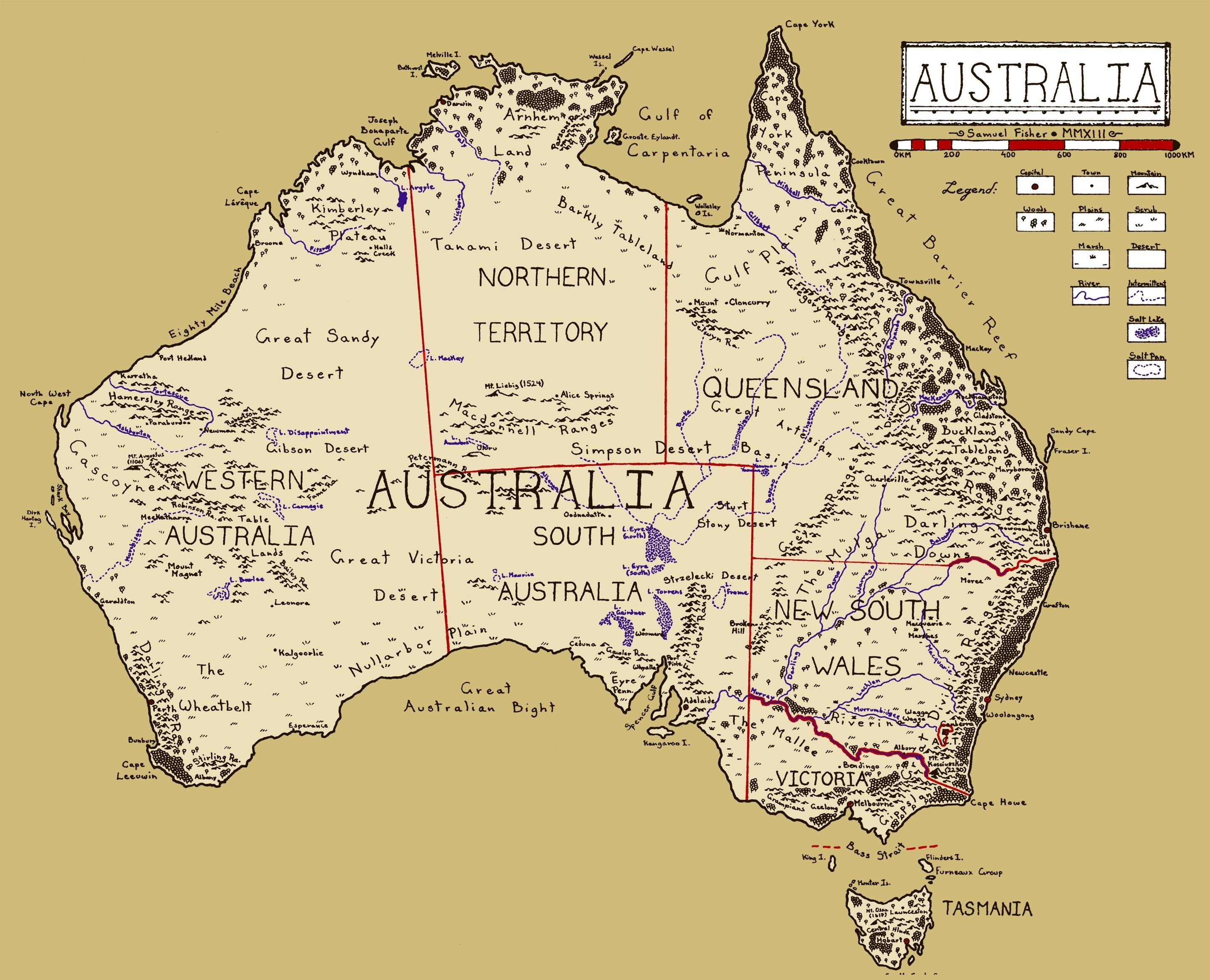 A Map I Drew Of Australia Lotr Style 2877x2329 Maps