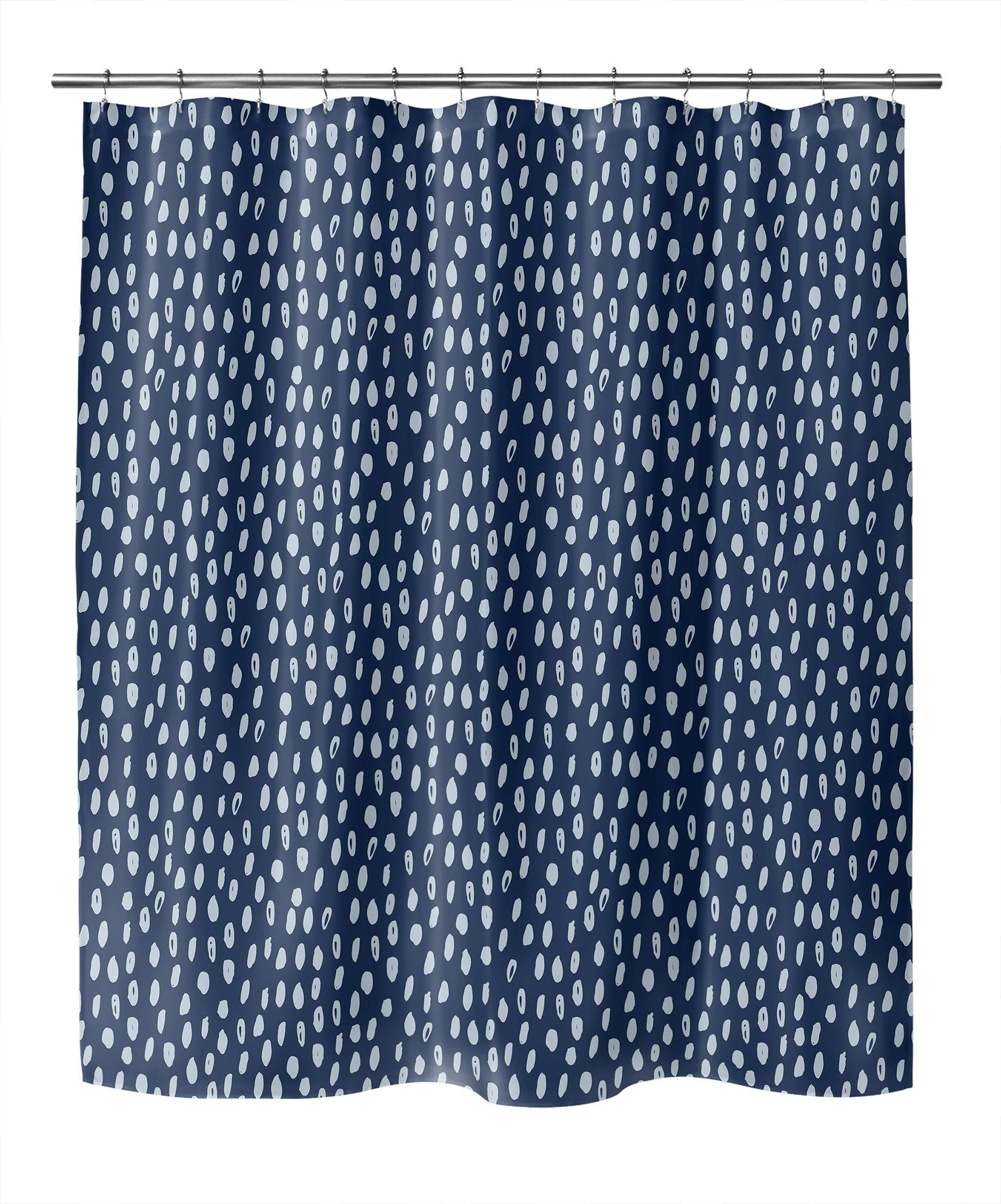 Photo of POLKA DOT ABSTRACT NAVY Shower Curtain By Kavka Designs – 70in x 72in