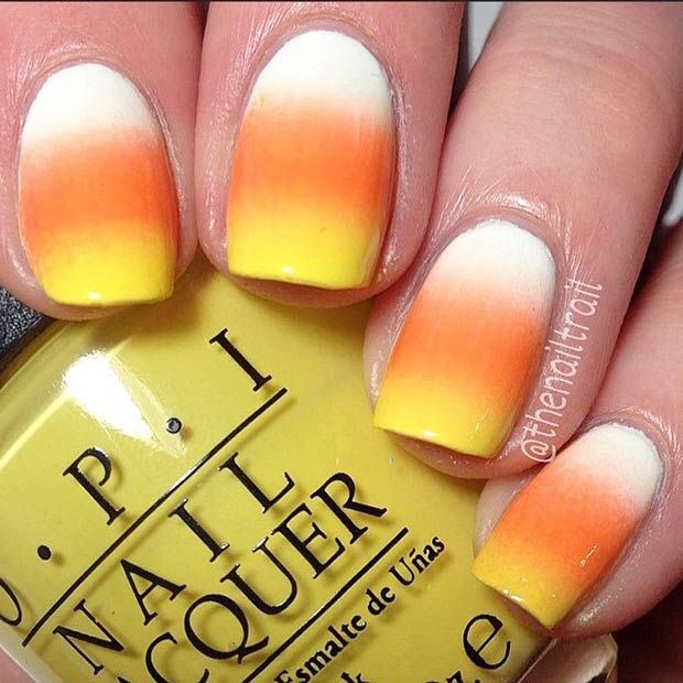35 cute and spooky nail art ideas for halloween candy corn nails 35 cute and spooky nail art ideas for halloween prinsesfo Image collections