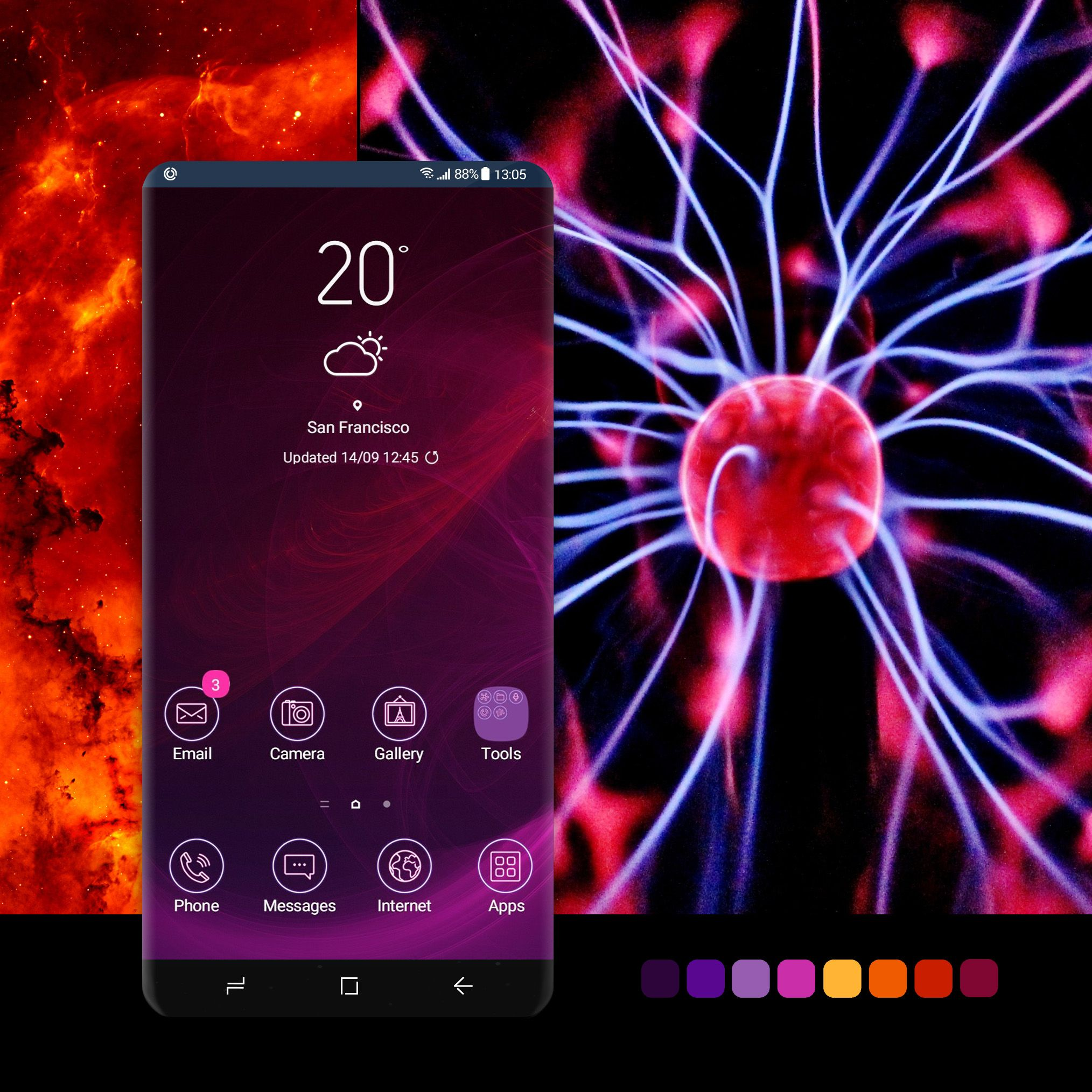 Purple Laser Abstract theme  Includes AOD and custom
