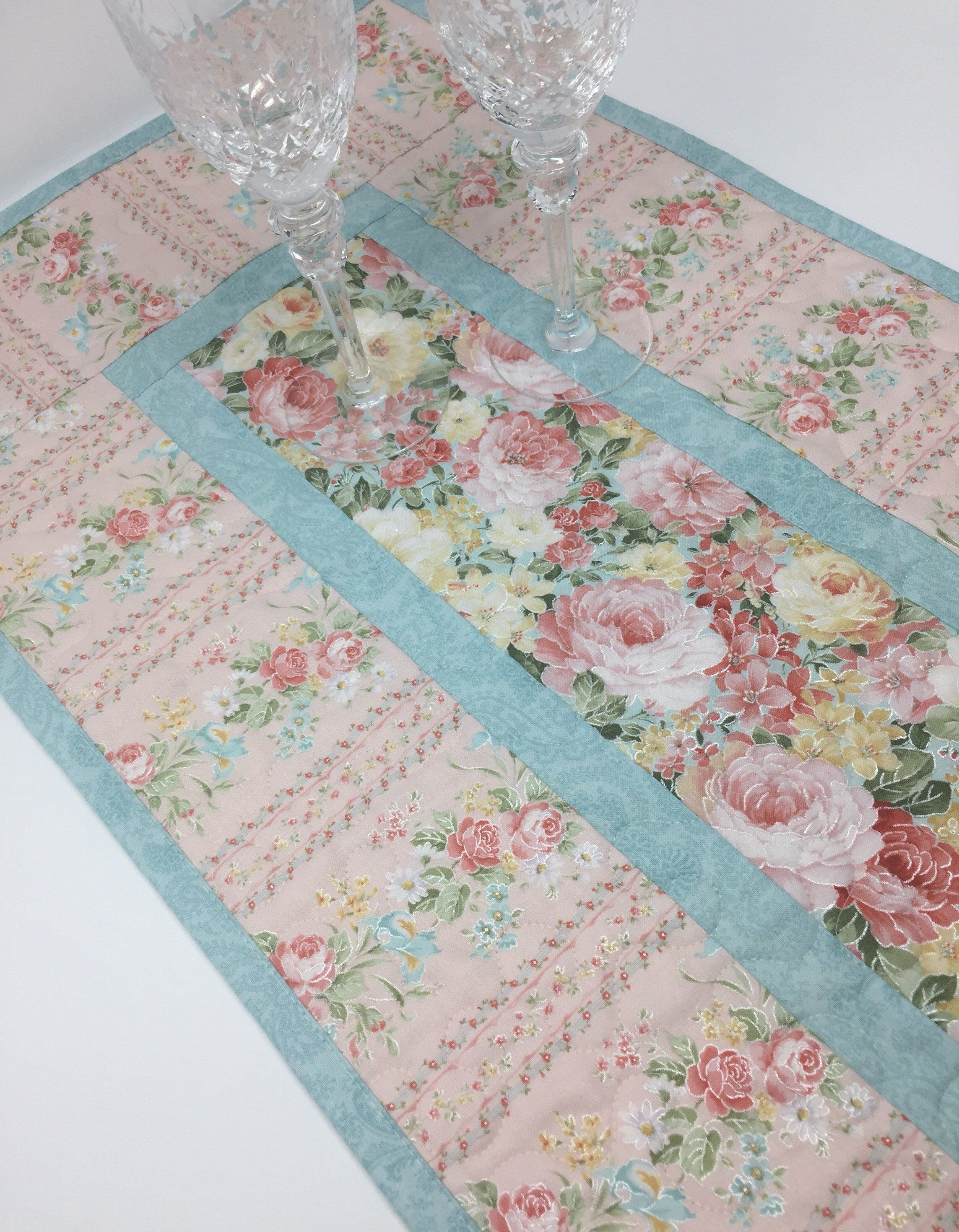 Magnificent Shabby Chic Table Runner Quilt Stripes Pink Blue Pink Download Free Architecture Designs Remcamadebymaigaardcom