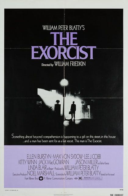 """""""Something almost beyond comprehension is happening to a girl on this street, in this house…and a man has been sent for a last resort. This man is the Exorcist"""".  The original US 1 Sheet purple style poster for the seminal 70s horror The Exorcist. An absolute classic, nominated for ten Academy Awards (the first horror film to be nominated for Best Picture) and picking up two for Best Sound Mixing and Best Adapted Screenplay)."""