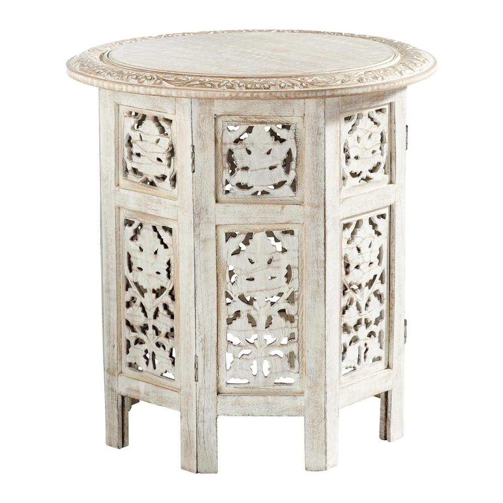 Tavolini Salotto Maison Du Monde.Tavolino Da Salotto Scolpito In Legno Sbiancato L 46 Cm Home