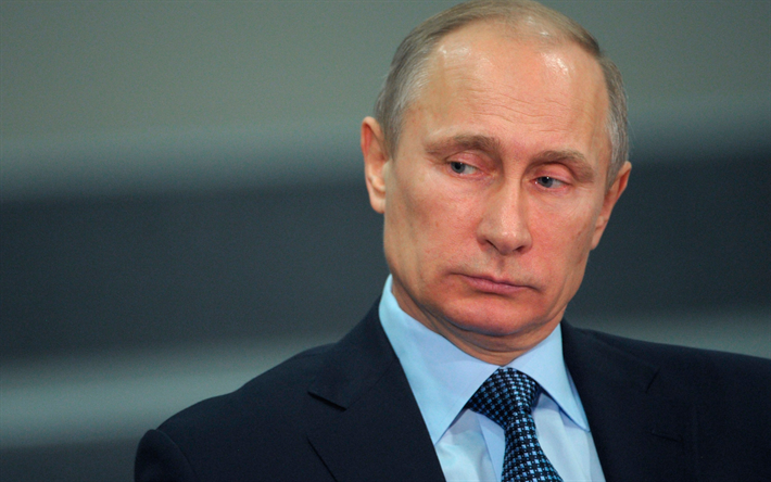 Download wallpapers Vladimir Putin, portrait, 4k, Russian