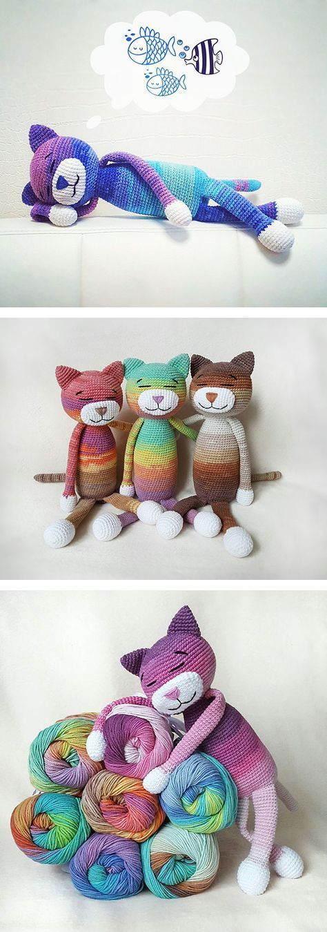 Chats en couleur ! | crochet | Pinterest | Gato, Tejido y Mimos