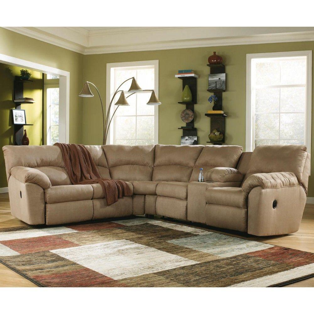 Ashley Furniture Amazon Reclining Sectional in Mocha - Ashley ...