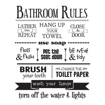 Bathroom Rules Lather Rinse Repeat Hang Up Your Towel Close The