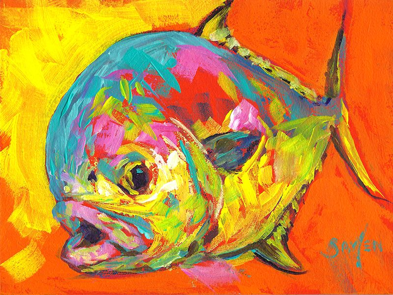 Permit painting, original fish in art, 6x8 daily painting Savlen ...