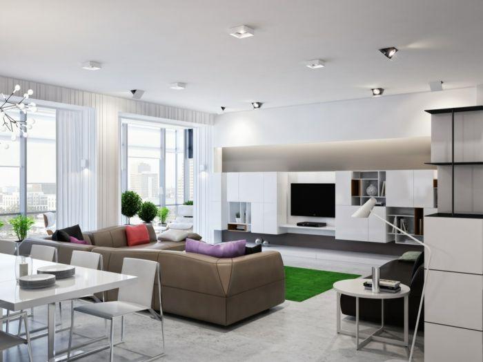 Wohnküche Gestalten wohnküche schicker essbereich und trendiger wohnbereich mit grünem